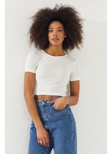 Reyon REYON Kadın Kısa Kol Crop Bluz Beyaz Beyaz